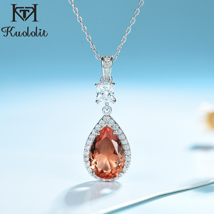 Kuololit Zultanite Gemstone Pendant For Women Solid 925 Sterling Silver Water Drop Diaspore Necklace Promise New Fine Jewelry