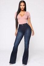 Wysokiej talii jeansy rozkloszowane Bell Bottom Jeans wiosna jesień jeansy typu Boot Cut dla kobiet Denim obcisłe dżinsy rurki mama szerokie nogawki Plus Size spodnie