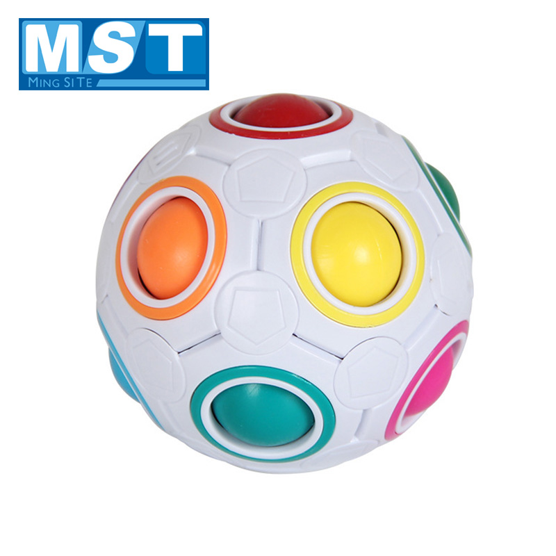 Creative Educational Stress Reliever Toys Novel Football Magic Cubes Sphericaly Anti Stress Rainbow Ball Football For Children