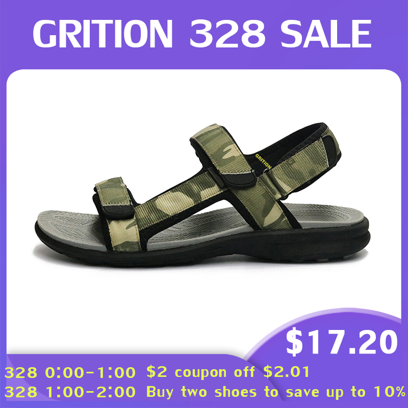 GRITION Men Sandals Fashion Summer Outdoor Shoes Casual Leather Breathable Beach Flat Sandals Hiking Large Size Walking Sandals