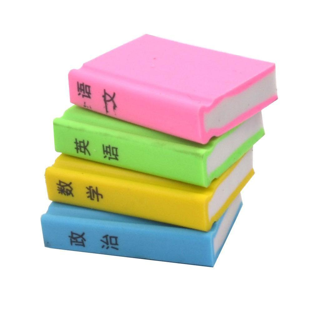 4 PCS/lot Office Stationery Book Style Eraser Student Learning Pencil Erasers For School Kids Gift Material Escolar Papelaria