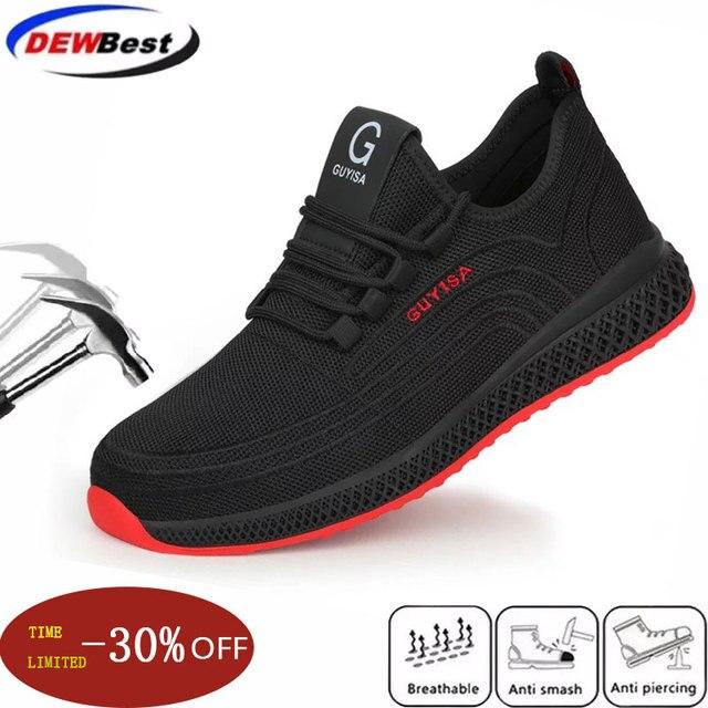 الرجال حذاء امن للعمل الرجال في الهواء الطلق الصلب تو الأحذية العسكرية القتالية حذاء من الجلد غير قابل للتدمير أنيق تنفس أحذية رياضية