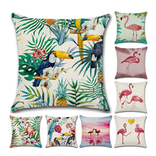Christmas Decorative Pillowcase Flamingo Square Throw Pillow Case Cushion for Sofa Room Couch 18x18 Inch,45x45 cm,1Pc