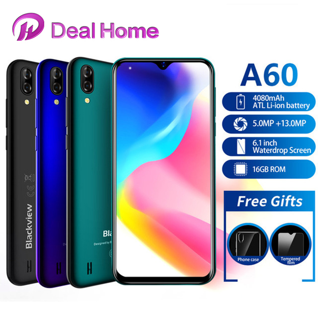 "Blackview A60 6.1 ""19:9 1GB RAM 16GB ROM Smartphone 4080mAh pil 13MP arka kamera MT6580 dört çekirdek Android 8.1 cep telefonu"