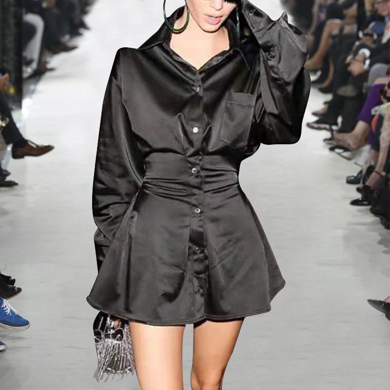 Nieuwe 2019 herfst vrouwen mode satijn shirt jurk acetaat lange mouwen sjerpen mini black sexy club jurken geel effen kleur - 3