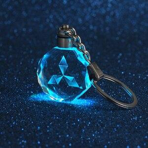 Criativo com lâmpada de vidro pingente carro chaveiro para mitsubishi logotipo metal chaveiro namorada esposa presente chaveiro acessórios do automóvel