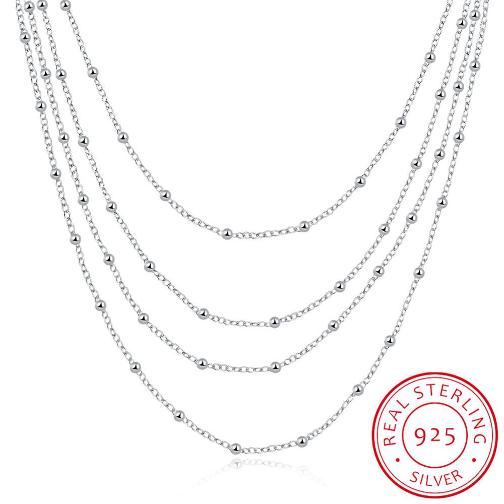 Elegant Women's Accessory Multilayers Beads Design Long Chain 925 Sterling Silver Fashion Necklace For Wedding Party