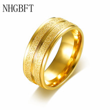 tigrade classic wedding band brushed men women titanium ring domed engagement jewelry 6 8mm simple unisex rings bague pour femme NHGBFT 8mm stainless steel Golden groove rings for women men matte gloss ring wedding engagement jewelry