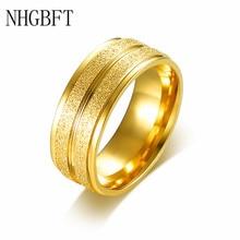 цена NHGBFT 8mm stainless steel Golden groove rings for women men matte gloss ring wedding engagement jewelry онлайн в 2017 году