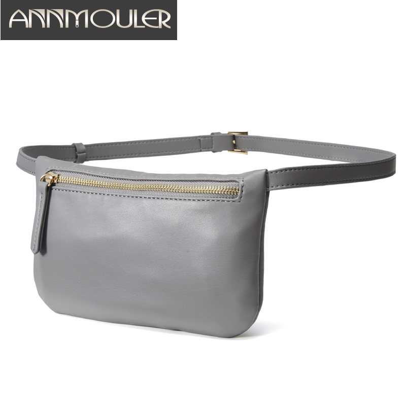 Fanny Pack For Women Pu Leather Waist Bag Purse Fashion Zipper Chest Bag Simple Waist Belt Bag Grey Bum Pouch Leather Phone Bag