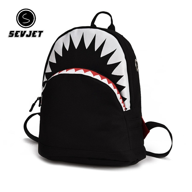 3D Shark School Bags Bags and Wallets Unisex color: big black|big gray|Purple|small balck|small gray