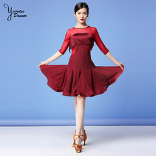 2 Pcs/Set 2020 Spring New Dance Clothes Women Latin Dresses for Adult Red Black Dress Half Sleeve Tassel