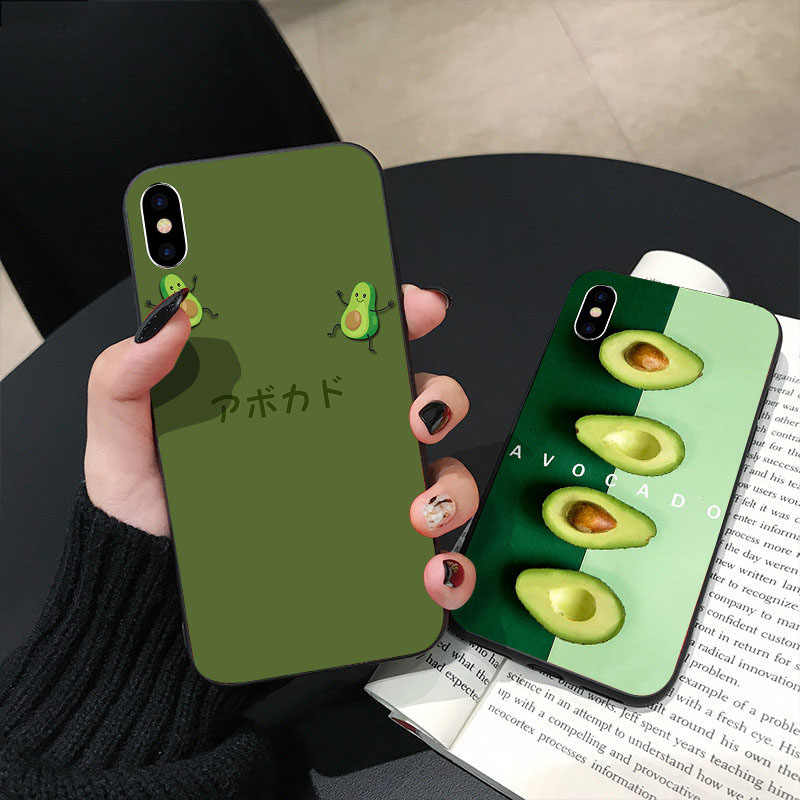 Caso de telefone privado de luxo personalizado all-inclusive para iPhone 6 6s 7 8 personalidade abacate caixa do telefone para iPhone X XS XR MAX