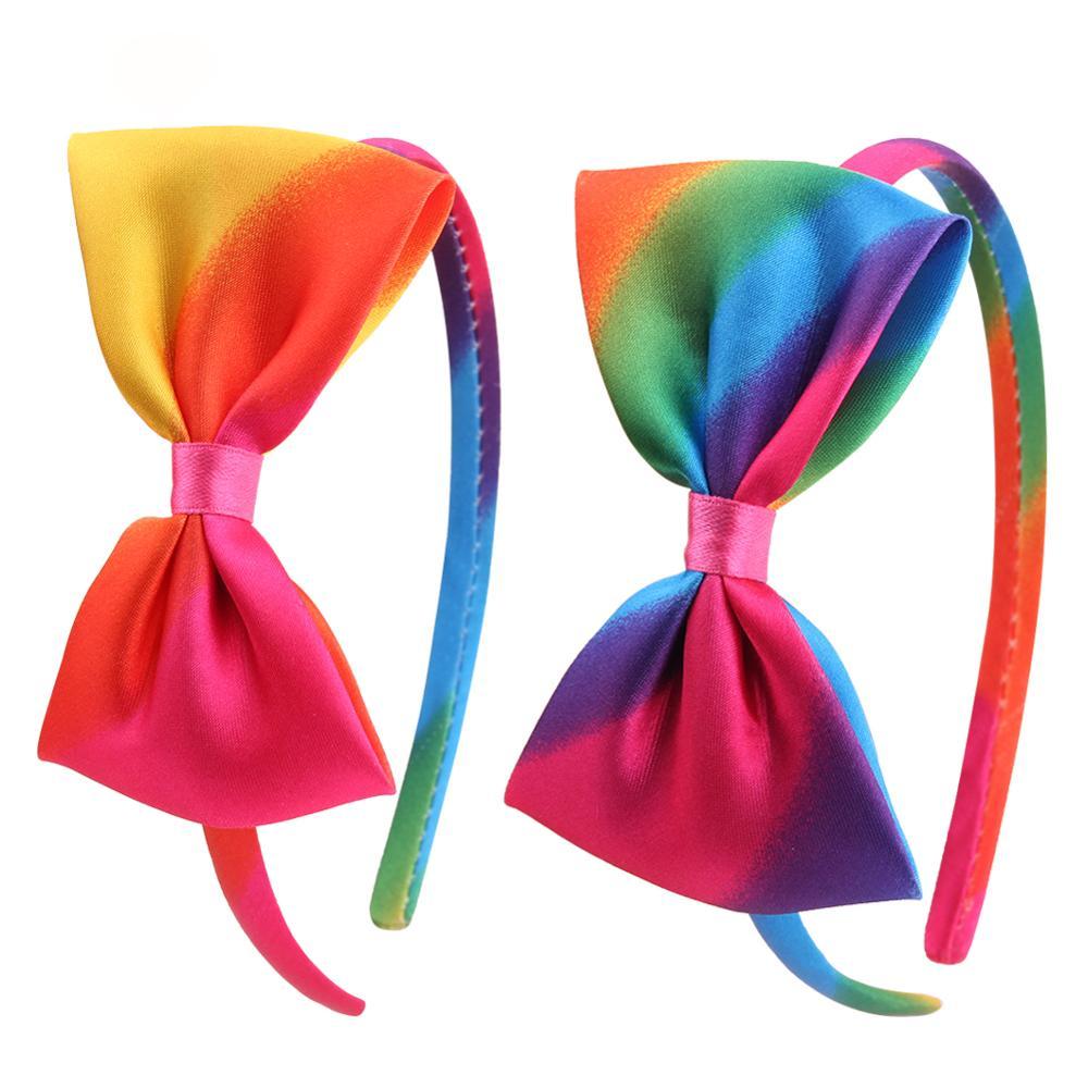 10pcs 1cm Butterfly Headbands Satin Rainbow Bow Hairbands for Girl Kids Hair Accessories Headdress DIY Headband boho Headwear