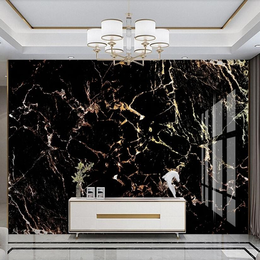Milofi Custom 3D Light Luxury Gold Black Marble Background Wall Mural