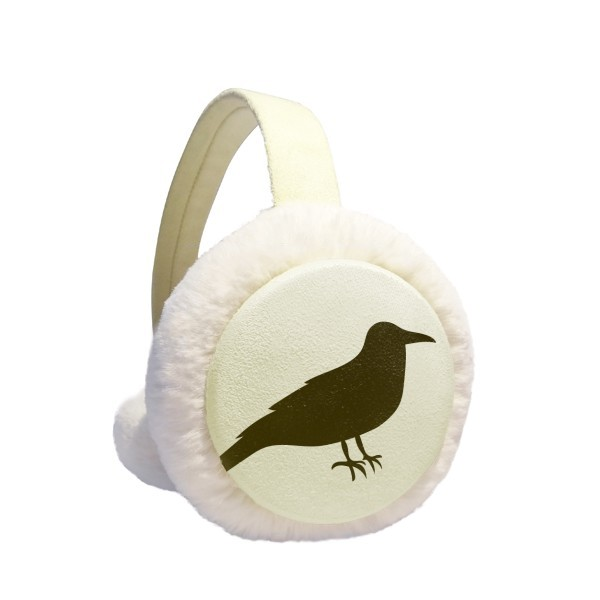 Black Crow Cute Animal Portrayal Winter Earmuffs Ear Warmers Faux Fur Foldable Plush Outdoor Gift