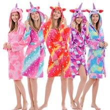 Bathrobes Rainbow Nightgown Pyjamas Hooded Unicorn Women Sleepwear Girl Kigurumi