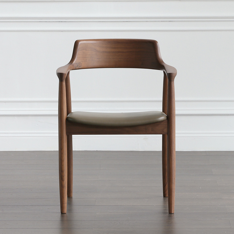 Solid Wood Dining Chair Hotel Restaurant Simple Nordic Chair Armrest Light Luxury Designer Chair