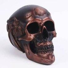 Sculpture Skull-Model Statue Bronze Crafts Home-Decoration Resin Halloween Heymamba Saving-Pot