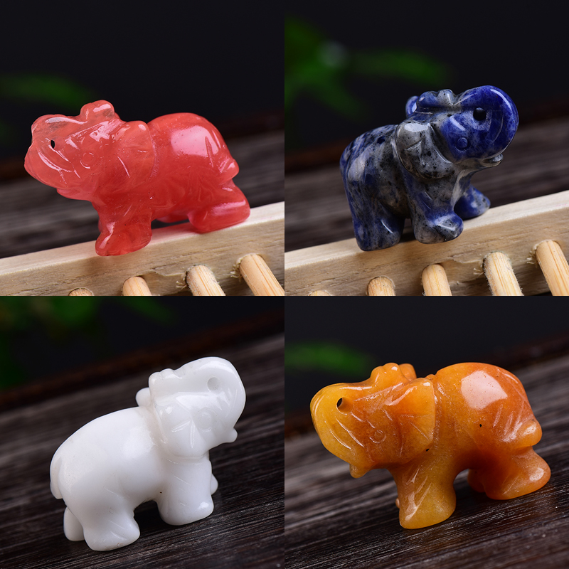 1PC Natural Stones Elephant Hand Carved Polished Animal Rare Gemstone Mineral Healing Energy Stone Health Home Decor Crafts Gift