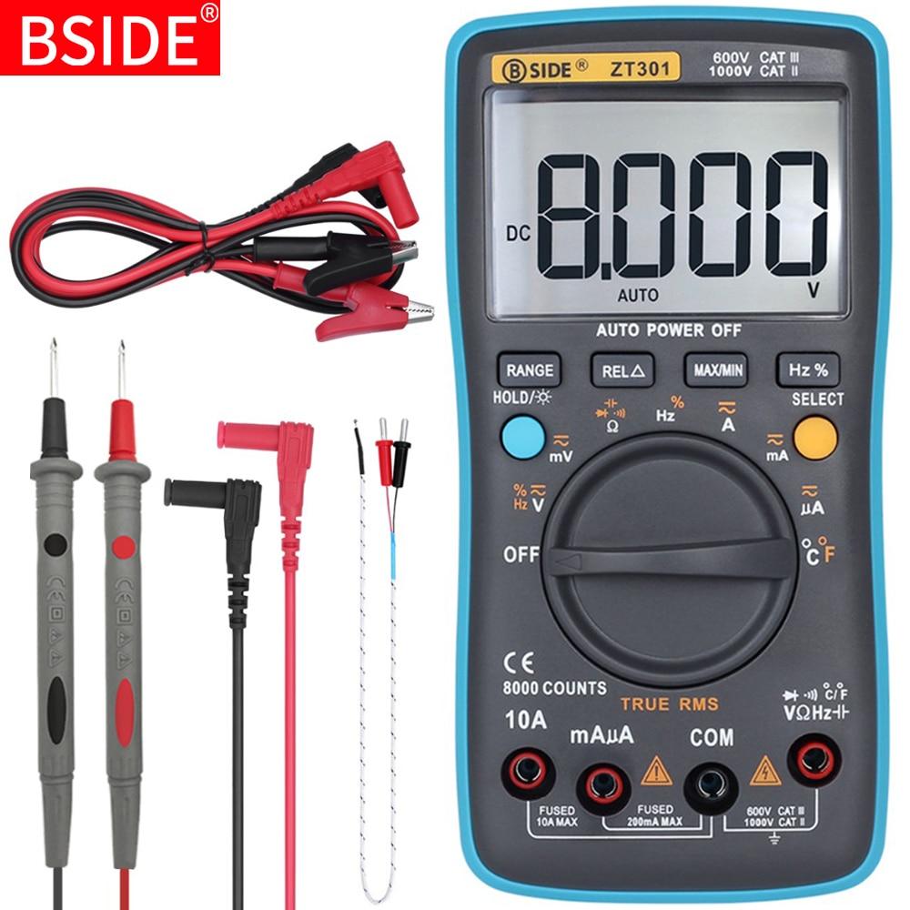 Digital Multimeter BSIDE ZT301 302 True-RMS DC/DA Voltmeter Ammeter Multimetro DMM Resistance Ohm Cap Hz Temp Tester