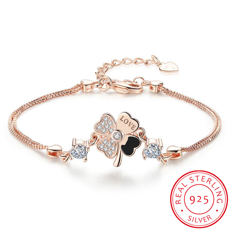 Sweet Simple Micro CZ Lucky Four Leaf Flower Bracelet For Women Girl Gift 925 Sterling Silver Zirconia Bracelet S-B199