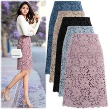 Slim Skirts Lace Knee-Length High-Waist Women's Summer Bonjean Pencil Falda Young-Girl
