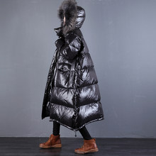 High grade Real Fox Fur Down Coat Parka Winter New 90% White Duck Down Jacket Long Black Glossy Down Jacket Thicken Warm Outwear(China)