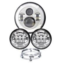 NIC ГБ интернет-светильник Мотоцикл головной светильник круглый светодиодный 4,5 ''светодиодный светильник дальнего ближнего света светодиодные H4 штекер Водонепроницаемый лампа с 7'' головной светильник кронштейн