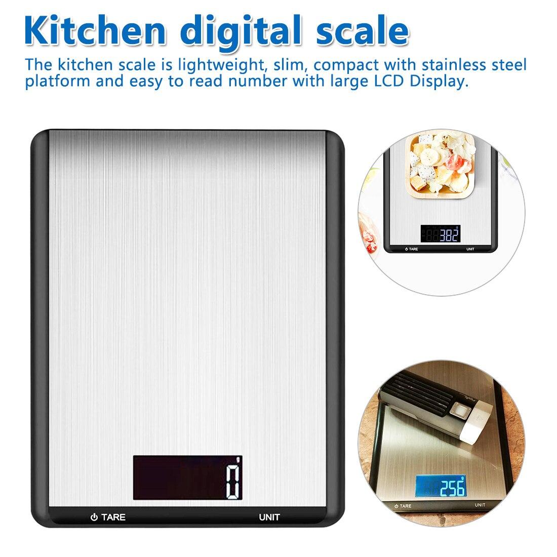 Ev ve Bahçe'ten Mutfak Terazileri'de Moda elektronik denge gıda pişirme ölçeği LCD arka ekran paslanmaz çelik dijital mutfak terazisi title=