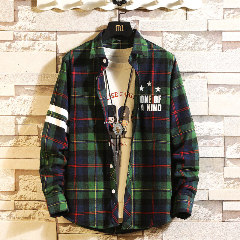 Plaid Men Long Sleeve Shirt Loose Japanese Streetwear Punk Fashion 2020 Casual Spring Autumn Plus Asian Size M-5XL