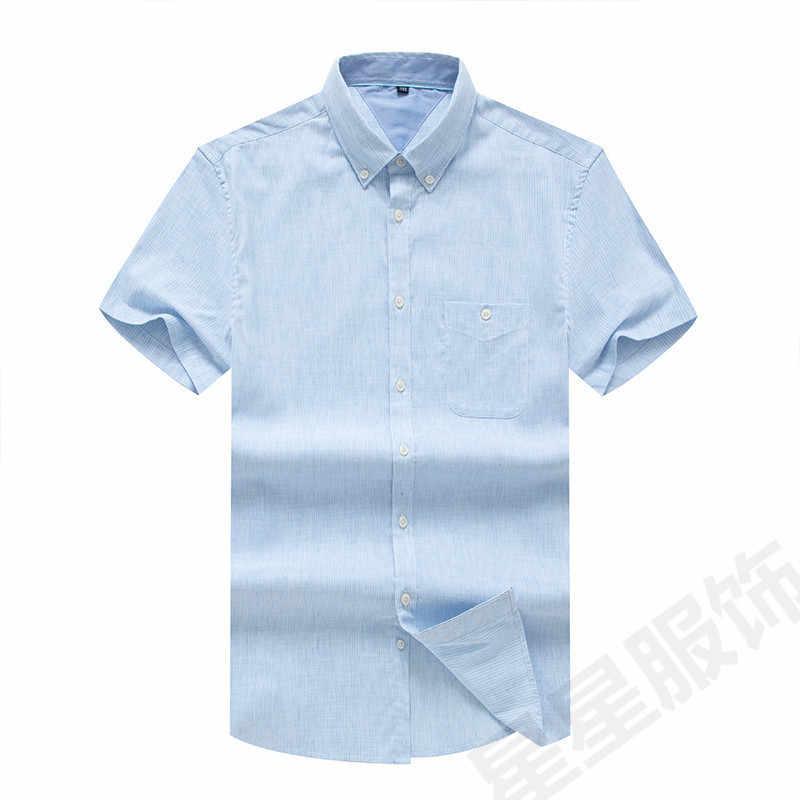 Plus size 8xl 6xl 5xl alta qualidade casual oxford camisa dos homens verão listrado fino ajuste lazer camisas de manga curta men chemise homme