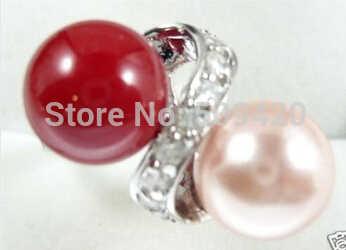 จัดส่งฟรีสวยไข่มุกสีชมพูและสีแดงแหวนหยก 7,8,9,
