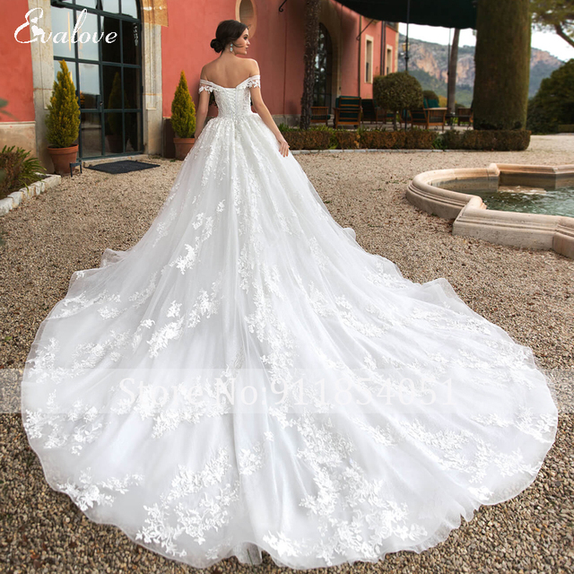 EVALOVE Gorgeous Appliques Royal Train A-Line Wedding Dress Sweetheart Neck Lace Up Beading Sparkly Tulle Princess Bridal Gown 2