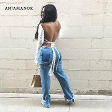 ANJAMANOR Sexy Backless Blusen Casual Frauen Tops Open Back Lace Up Flare Hülse Weiß Plus Größe Damen Shirts D27-BI18