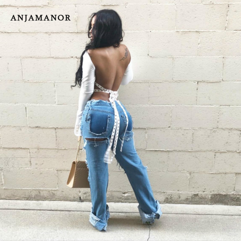 ANJAMANOR Sexy Backless Blouses Casual Women Tops Open Back Lace Up Flare Sleeve White Plus Size Ladies Shirts D27-BI18