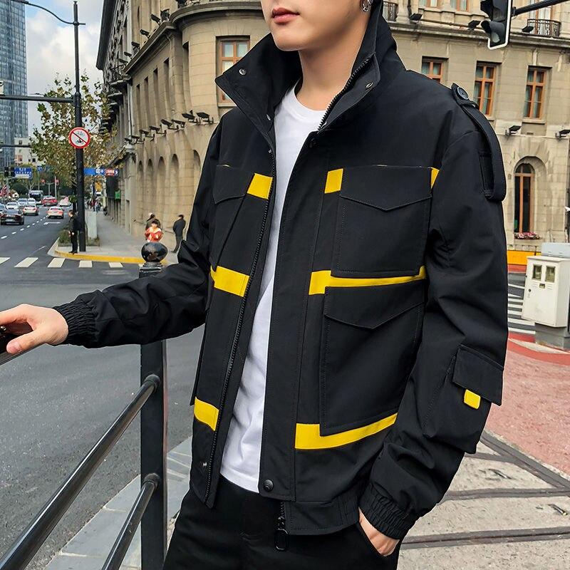 Мужская куртка-бомбер в японском стиле для колледжа, повседневная куртка хаки в стиле хип-хоп с капюшоном, осенняя мужская армейская Военна...