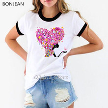 Camiseta Rosa loveheart flor Hada mariposas estampado vogue mujeres kawaii camiseta 90s tumblr ropa estética mujer camiseta top(China)