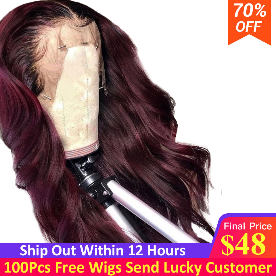 1b/99j Burgundy Omber Color Lace Front Human Hair Wigs With Baby Hair Brazilian Remy Human Hair Wigs For Women Bleached Knots