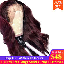 1b/99j Burgundy Omber Color Lace Front Human Hair Wigs With Baby Hair Brazilian Remy Human Hair Wigs For Women Bleached Knots(China)