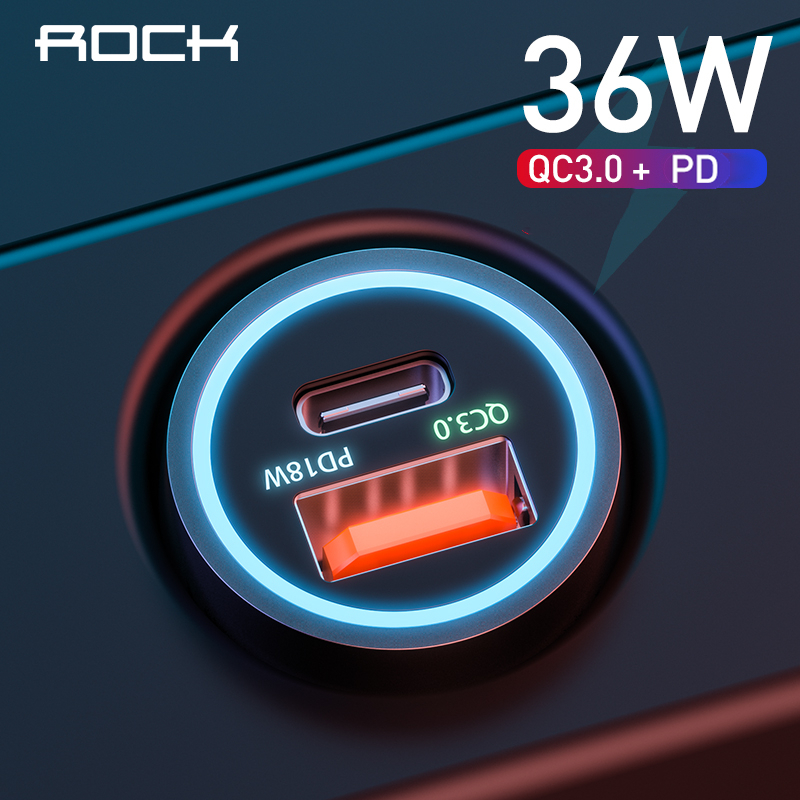 Hot Deals²ROCK Car-Charger iPhone Xiaomi Samsung S10 QC Type C PD for Metal 9-Fast 36W