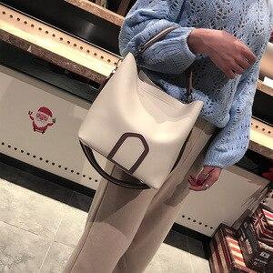 Image 4 - Ladies Crossbody Bag European and American Leisure Fashion Shoulder Bag High Quality Solid Handbag Simple Tassel Bucket Bags