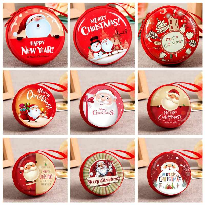 Mini Tin Box Sealed Jar Christmas Coin Storage Cans Earrings Headphones Storage Kids Xmas Tree Decoration Candy Box Baroque