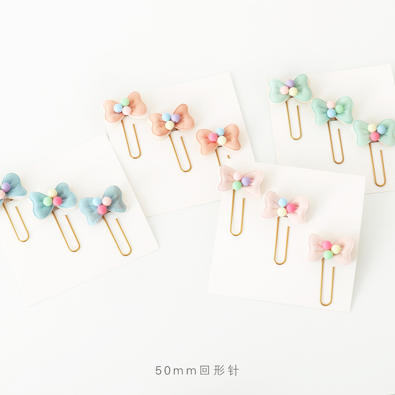 3pcs Size L 60mm X 40mm Fabric Decoration Bow Paper Clip Cute Girl Bookmarks Clips Note Clips