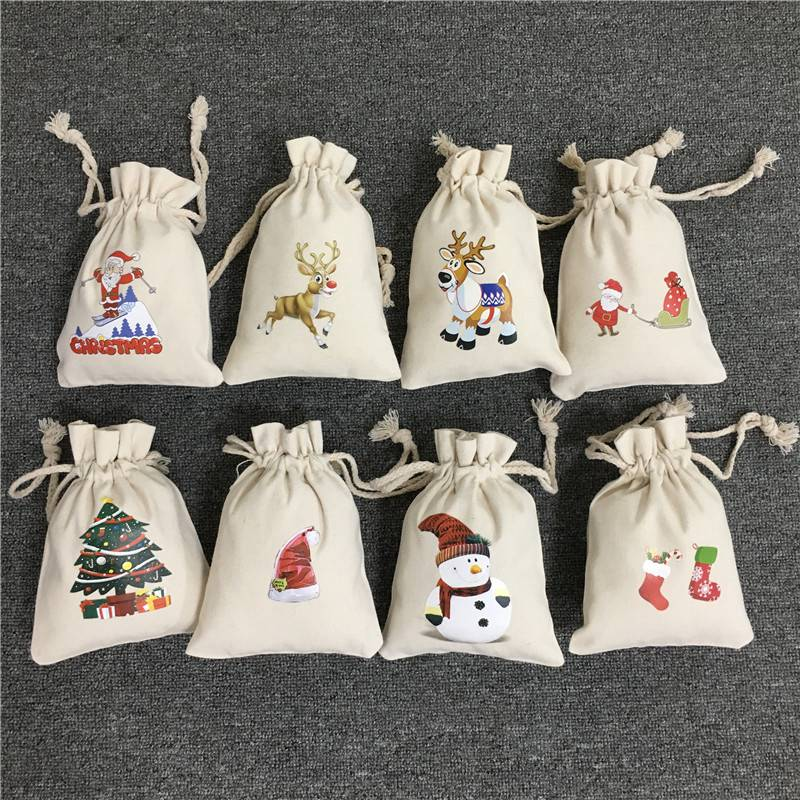 Santa Sacks Christmas Candy Bag Canvas Gift Bags Santa Deer Elk Ride New Year Xmas Nevidad Gifts For Kids Event Party Decoration