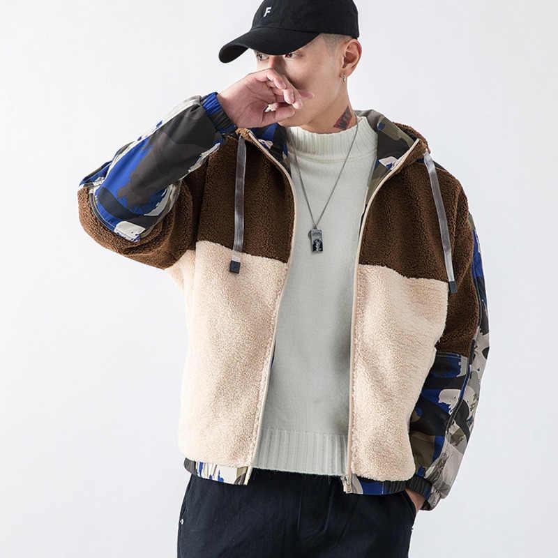 EWQ/ropa de hombre 2020 invierno abrigo de lana de cordero de Color Hit chaqueta de Patchwork mantener caliente chaqueta acolchada de algodón tendencia con sombrero 9Y0080
