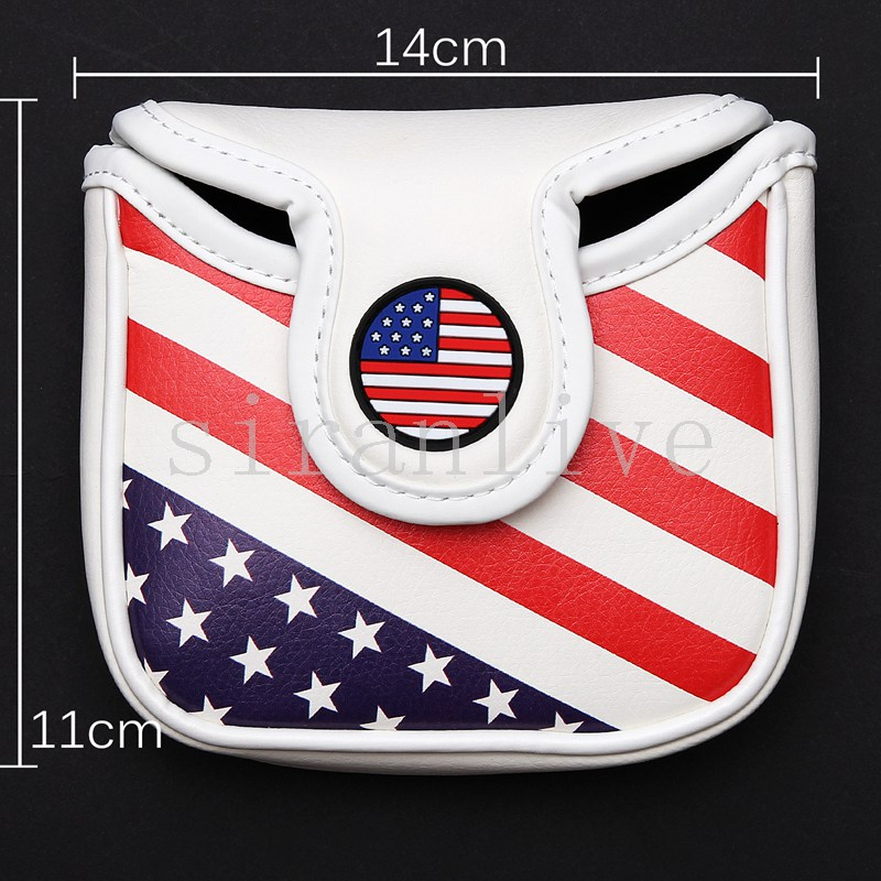 Golf Square Mallet Putter Cover Club Headcover Magnetic Closure For Heel Shafted Club USA Flag Style