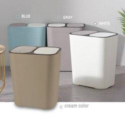 Kosz na śmieci prostokąt plastikowy przycisk podwójny przedział 12 litrów recykling kosz na śmieci kosz na śmieci sklasyfikowany kosz na śmieci H99F w Kosze na śmieci od Dom i ogród na