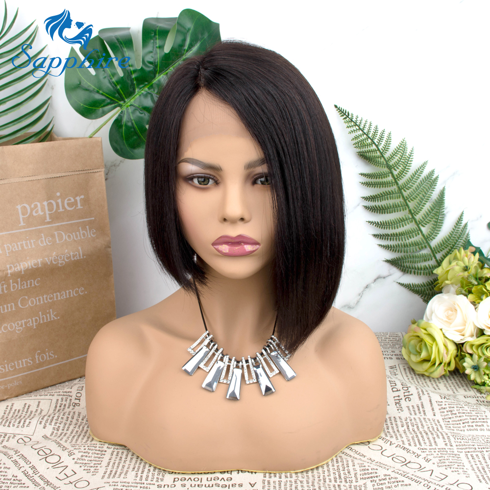 Straight Short Human Hair Wigs 150% Density T Lace Straight Bob Lace Wigs Sapphire HAIR Malaysian Lace Part Bob Human Hair Wigs