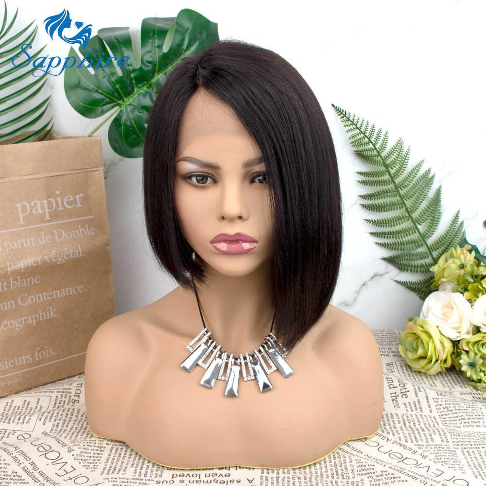 Straight Short Human Hair Wigs 150% Density T Lace Straight Bob Lace Wigs Sapphire HAIR Malaysian Lace Part Bob Human Hair Wigs